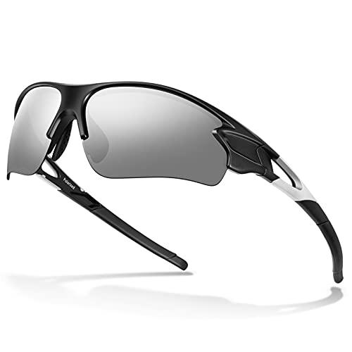 Gafas de Sol Polarizadas - Bea·CooL Gafas de Sol Deportivas Unisex Protección UV con Monturas Ligeras para Esquiando Ciclismo Carrera Surf Golf Conduciendo (Negro plata)