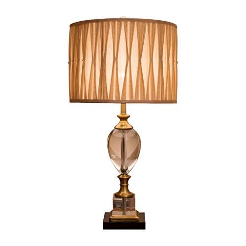 Lámparas Lámpara de Mesa de Cristal, Tela Plisada de Metal de Cristal y latón, lámpara de Mesa, Sala de Estar/Dormitorio (Beige) Lámpara de Mesa