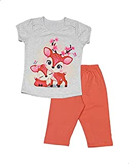 Jockey Deer Print Short Sleeves Crew Neck T-shirt with Pants Pajama Set for Girls