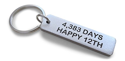 Aluminum Keychain Engraved'4,383 Days, Happy 12th'; 12 Year Anniversary
