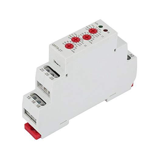 Mini Relé de Retardo de Tiempo, Keenso GRT8-2T Mini 35mm Tipo de riel DIN Doble Relé de Retardo, Interruptor temporizador de retardo AC/DC 12V-240V(AC/DC12V~240V)