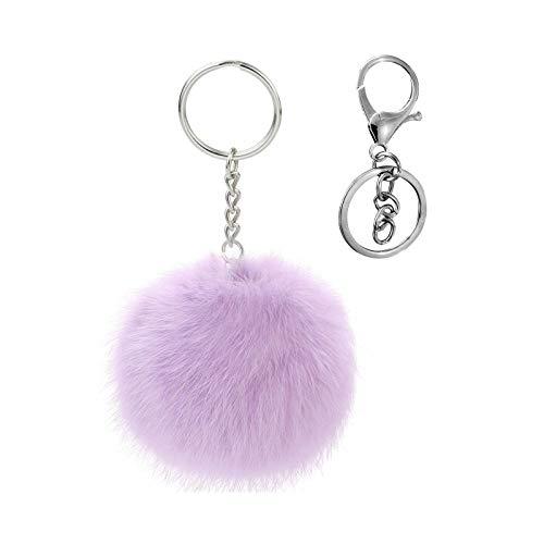 Cute Faux Rabbit Fur Ball Pom Pom Keychain Cityelf Car Key Ring Handbag Tote Bag Pendant Purse Charm (lavender)