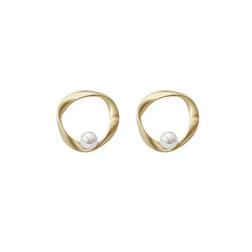Pendientes de tuerca para mujer simple atmosférica pequeña perla pendiente femenina suave personalidad joker lágrima moda señoras pendientes geométricos delicado pendiente