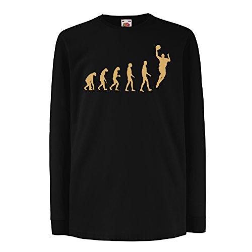 Kinder-T-Shirt mit Langen Ärmeln Evolution Basketball - Street Basket, ich Liebe Dieses Spiel, tolles Fan-Geschenk (5-6 Years Schwarz Gold)