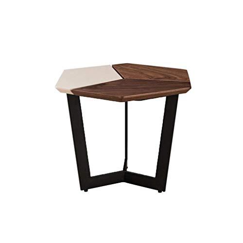 ZBM-ZBM notenhout bijzettafel, kantoorgrootte woonkamer creatieve combinatie kleine salontafel (grootte: 59 × 59 × 45 cm)