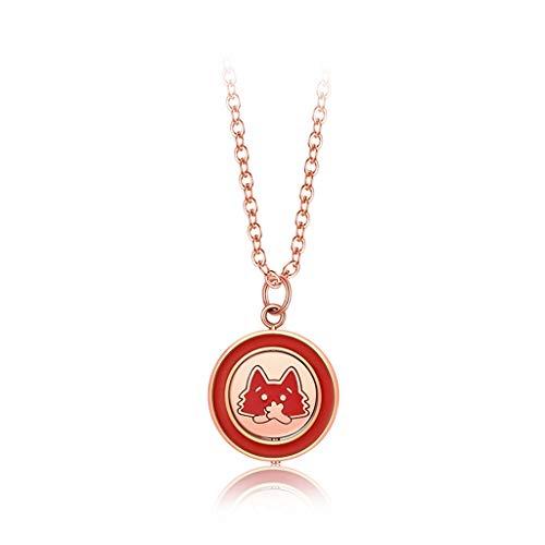 NYKK Collares Rojo Redondo del Collar del Estilo 18K plateó el Gato Creativo círculo Giratorio Pendiente de la joyería Dainty Regalos de la Cadena for el Amante/Familia