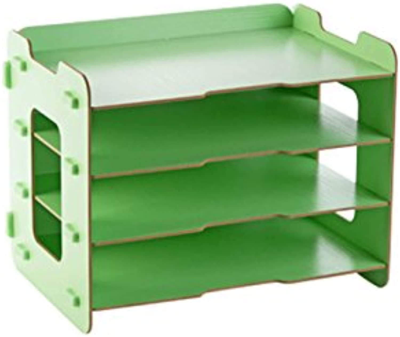 Shelf Office Desktop, Book Storage Rack, Wooden Stationery, Storage Box (color   Green)