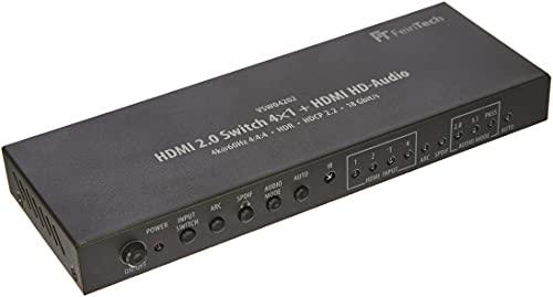 FeinTech VSW04202 HDMI 2.0 Matrix Switch 4x1 HD-Audio Extractor 7.1 Dolby Atmos 4K 60Hz HDR CEC