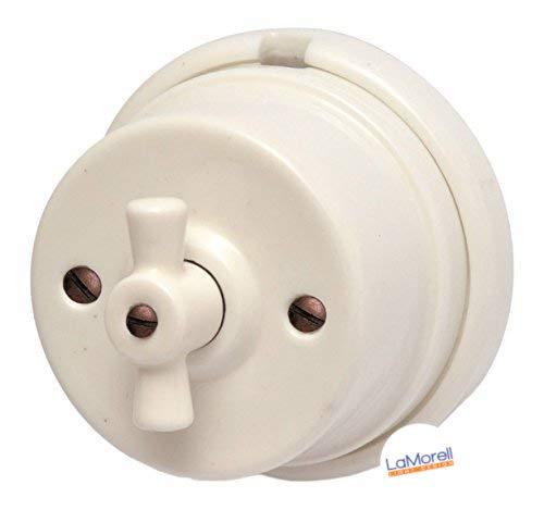 Porzellan Lichtschalter Retro Aufputz Schalter weiß Drehschalter nostalgischer Wandschalter | 2A bis 250V Abmessungen: Ø80 mm - h50 mm