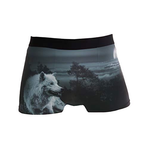 BONIPE Herren Unterhose Nigth Moon Wolf Roar Boxershorts Unterwäsche Jungen Stretch Atmungsaktiv Low Rise Trunk S Gr. X-Large, mehrfarbig