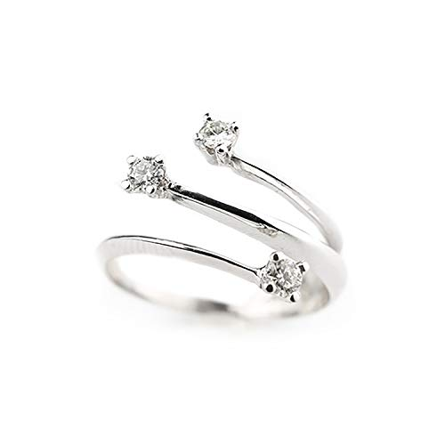 Anillo de compromiso Trilogy de oro blanco de 18 quilates 750 con diamantes naturales 0,24 ct F VVS