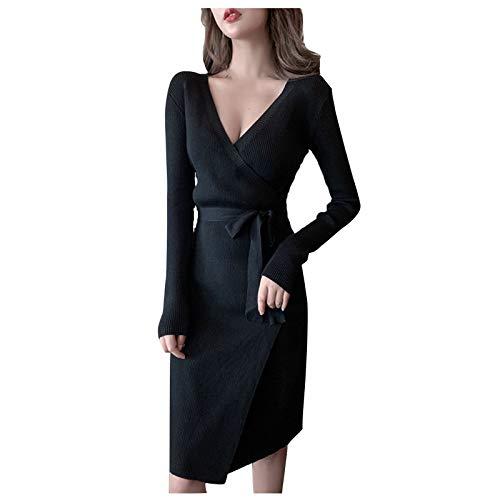 gfdrt G210606036 - Vestido de manga larga con cuello en V para mujer, sexy con cuello en V profundo