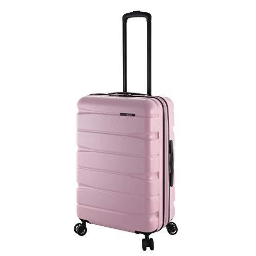 Rada 65cm Reise Koffer Trolley Ultra Robust ABS-Material, 60 Liter, Hartschalen Gepäck mit 4 360° Rollen, TSA-Schloss, Volumen ERWEITERBAR, Teleskopgestänge, Unisex (Rose Gold)