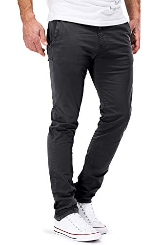 DSTROYED ® Chino Herren Slim fit Chinohose Stretch Designer Hose Neu 505 (36-30, 505 Dunkelgrau)
