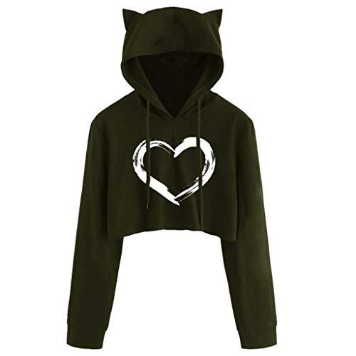 Sudaderas con capucha para mujer y adolescente con orejas de gato, estampado gráfico de corazón, manga larga con cordón
