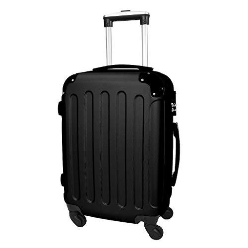 Todeco - Maleta De Mano, Equipaje de Cabina - Tamaño (ruedas incluidas): 56 x 38 x 22 cm - Tamaño interno: 49 x 35 x 21 cm - Esquinas protegidas, Llevar-en 51 cm, Negro, ABS