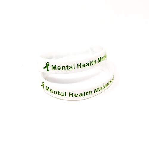 2 Pack Mental Health Matters Awareness Bracelet Motivational Men's Women's Mental Health MHA (Large 20cm, x2 White)