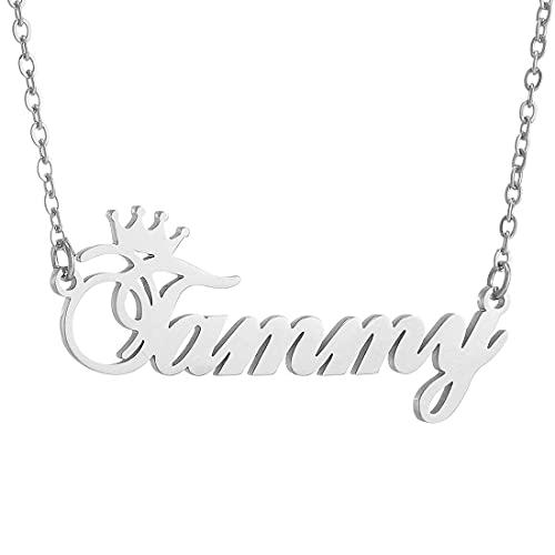 RWQIAN Personalizado Collar Nombre Cadena de Número Acero Inoxidable Joyería Mujer Hombres Oro/Plata/Rose 45+5CM