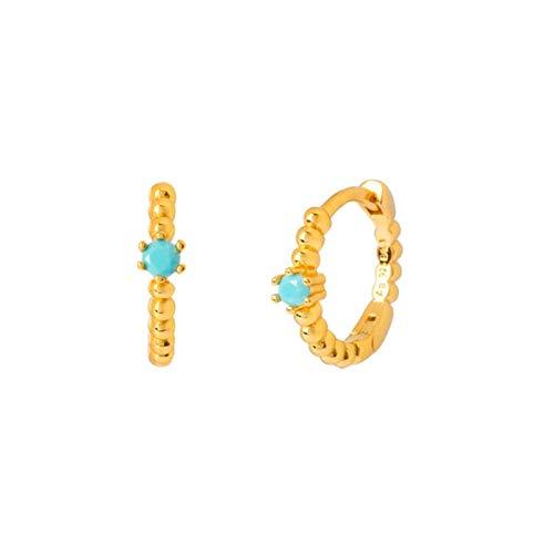 Pendientes Mujer Pendientes De Aro De Cristal Pendientes Circulares De Plata De Ley 925 Pendientes De Color Dorado para Mujer Regalo De Joyería -Gold_Turquoise