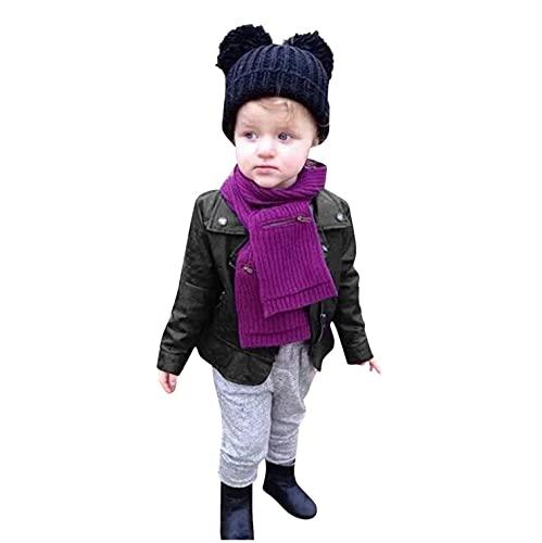 Sheey Chaqueta de Cuero de Moda Infantil Versión Coreana Solapa, Ropa Abrigo Sudadera Jersey Bebé Niños Niñas Chico Chica Otoño Invierno Fiesta Inicio Escuela