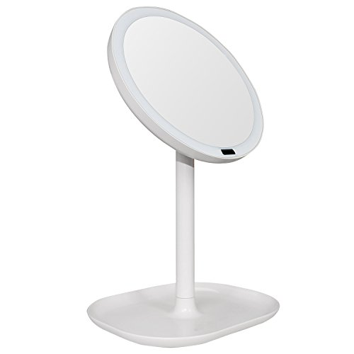 Meijing Motion Sensor Lighted Mirror Table Top Lamp Make up Mirror Rechargeable 360 Degree Rotation Infrared Induction 10X Magnifying Vanity Mirror