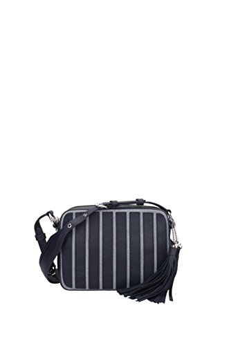 """Zip closure Silver-toned hardware, Hanging leather tassels denim panelling, two interior slip pockets, interior zipped pocket adjustable shoulder strap, embossed brand charm, brand lining Size: 7""""H x 9.3""""L x 3""""D, Dust bag included"""