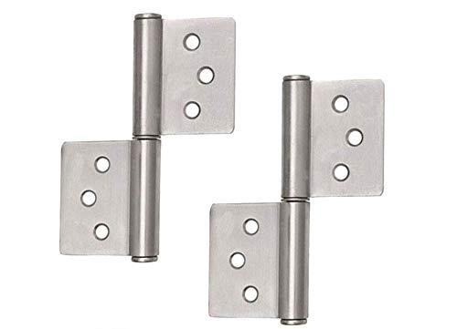 4x Cerniera in acciaio inox a cerniera, ideale per uso interno ed esterno - Cerniere stabili per porte in metallo e legno (80 x 50 x 7 mm)