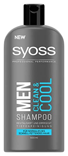 3 x SYOSS Shampoo Men Clean & Cool je 500ml Normales bis schnell fettendes Haar