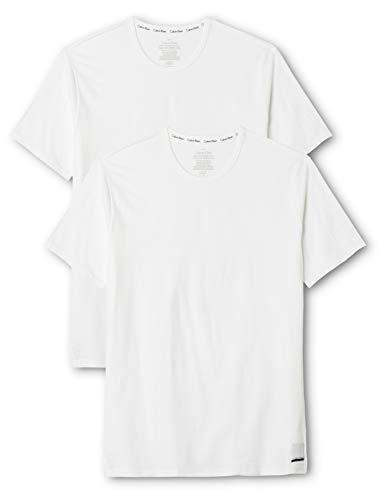 Calvin Klein Herren 2p S/s Crew Neck T SLI T-Shirt, Weiß (White/White), Large (2er Pack)