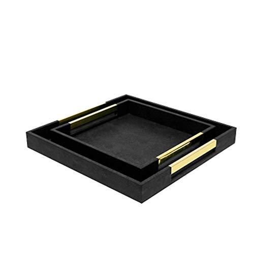 XMSIA Bandeja de Servir Bandeja de Salida Negro decoración de la Cocina Mesa de café decoración del hogar Bandeja de Desayuno para la Decoración del Hogar (Color : Black, Size : 42x42x5cm)