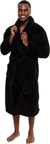 Ross Michaels Mens Luxury 400gsm Sleep Robe - Mid Length Plush Big & Tall Bathrobe (Black, XXX-Large)