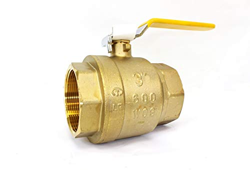 "3"" Brass Ball Valve Threaded - IPS Full Port Irrigation Water Valves - Mechanical Lead Free Lever Handle - 3-Inch Female Thread Inline Steam Oil 600 WOG Supplies Hot Cold Pipes CSA Approved 3 Inches"