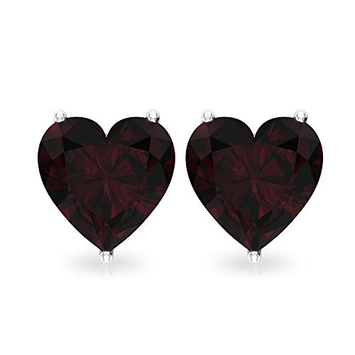 Pendiente solitario granate de 3 quilates, certificado SGL en forma de corazón, declaración de dama de honor, pendiente nupcial, pendiente de boda 10K Oro rosa, Par