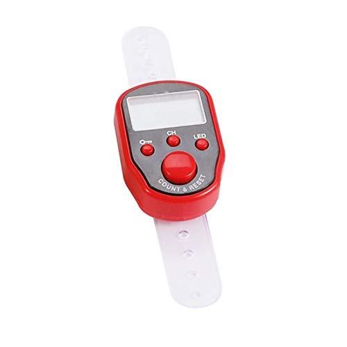 SHAOXI Stichmarker Zeile Hand Tally Fingerzähler LCD Electric Digital Display LED-Licht zum Nähen Strickweben Beten Sie Fußball Zählerzählung (Color : R)