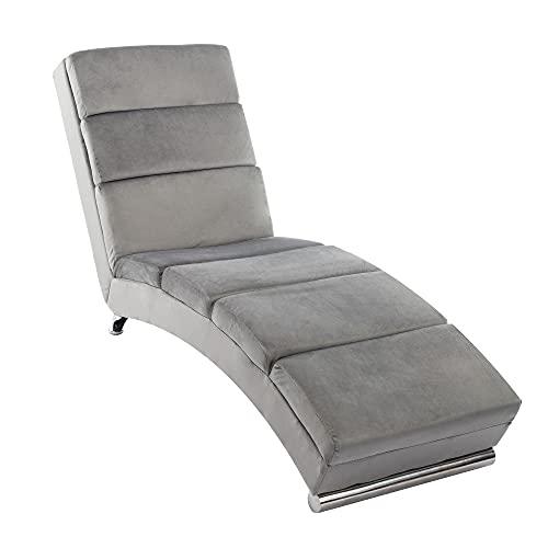 Mingone Relaxliege mit rückenlehne liegestuhl Wohnzimmer Samt Ergonomisch Liege Relax Holiday Loungesessel Liege mit Modernem Design Liegesessel (Hellgrau, 1)