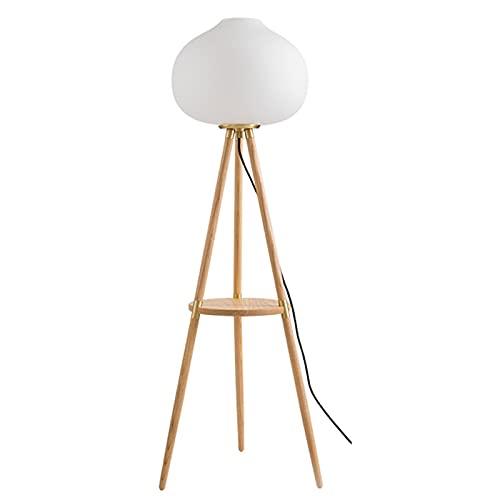HXXXIN Lampada da Terra Luce Tavolino da caffè di Lusso Lato Divano Lampada da Terra in Legno Massello Atmosfera Creativa Lampada da Terra Comodino Lampada da Tavolo Verticale Mensola,Ottone