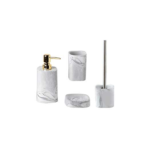 Bomba de ducha 4-set dispensador de jabón de cerámica con bomba de oro de acero inoxidable, jabonera, vaso, taza de almacenamiento, estante de aseo con cepillo de baño, 15,2 oz bomba dispensadora de j