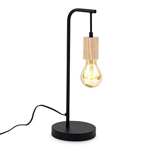 B.K.Licht Lámpara de mesa retro con diseño curvado I E27 I Cable con interruptor I 1 foco I Metal I Madera negra