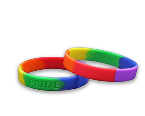 Fundraising For A Cause   Silicone Pride Flag Rainbow Bracelet - Adult Pride Bracelet - LGBTQ+ Bracelet for Women & Men (Pack of 1)
