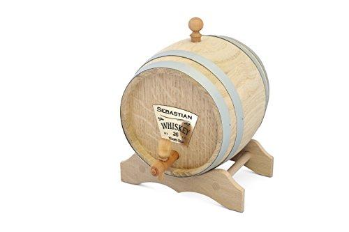 Unbekannt Eichenfass Schnapsfass Partyfass Weinfass mit Wunschgravur und Messinghahn - wählbar in Verschiedenen Größen (2L)