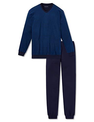 Schiesser Herren Lang Zweiteiliger Schlafanzug, Blau (Blue 819), 56
