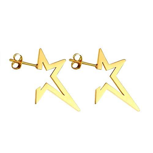 JY Novelty Jewelry-Hypoallergenic 316L Stainless Steel Pentagram Earring for Women Gold