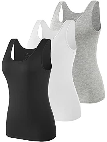 Air Curvey Tank Tops for Women Undershirt Tanks Slim-Fit 3 Pack Black White Gray XXL