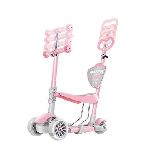 LILIS Patinetes para Niños Niños Scooter Tabla de flotación Triciclo 3en1 4 etapas Ajustable de 1-8 años de Edad, Regalo Brillante Ruedas for los niños Lactantes (Color : Pink)