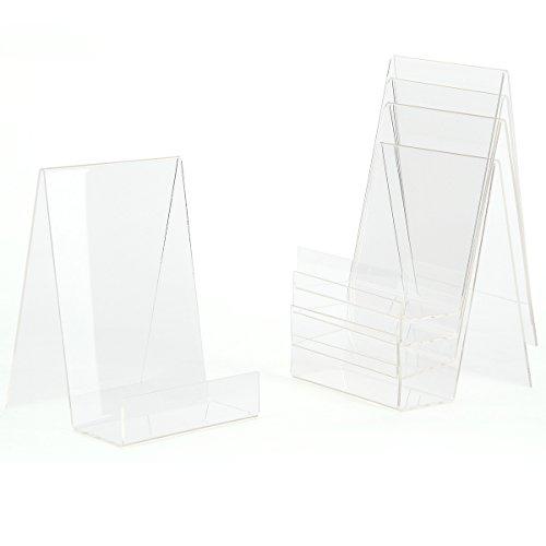 5x Acryl Buchstütze Buchständer Warenstütze Warenträger Display Tischaufsteller Acrylaufsteller Prospektständer (M:10x12x14,7cm)