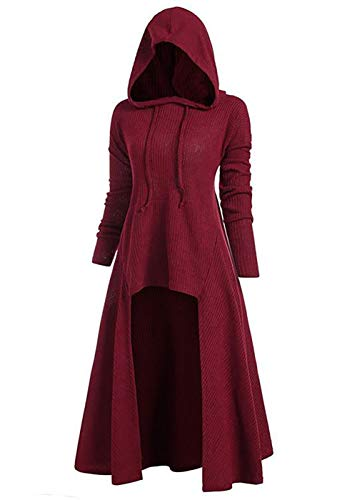 Women Hooded Hem Outwear Hooded Lace Up Hooded Pocket High Low Drop Shoulder Longline Sweater Burgundy Medium