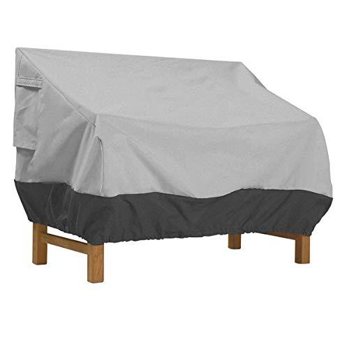LDIW Abdeckung für Gartensofa Schutzhülle für Gartenbank 2-Sitzer, Wasserdichtes Atmungsaktives Oxford-Gewebe Gartenbank Abdeckung,Grayblack,147x83x79cm