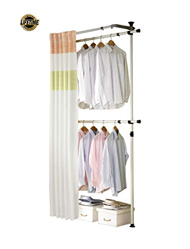 PRINCE HANGER | Simple 2 Tier Hanger with Curtain | Clothing Rack | Closet Organizer | PHUS-0062
