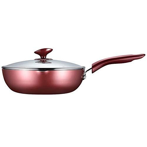 CMmin Chef Classic Anti-stick Wok, Met Koekenpan, Inductie Compatibel, Vaatwasserbestendig, Oven Veilig, Multi-functie Koekenpan RVS Handvat Met Glas Cover 28 cm