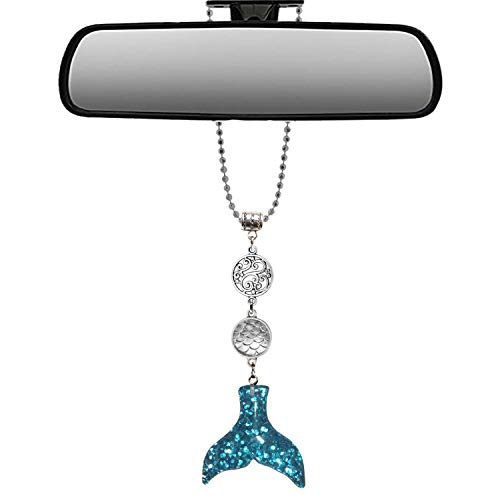 Mossy Cabin Handmade Bling Assorted Mirror Car Charm Hanger Dream Catcher Ornament with Adjustable Chain (Glitter Mermaid) (Silver and Blue Glitter)
